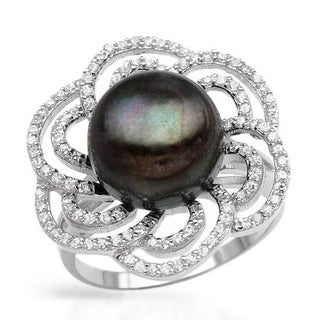 Ring with 2.3ct TW Cubic Zirconia and 12mm Freshwater Pearl in .925 Sterling Silver