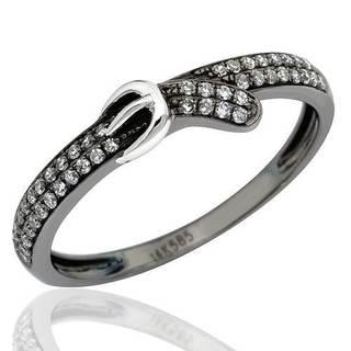 Vida 14k Black Plated Gold Belt Buckle Diamond Ring (G-H, SI2)
