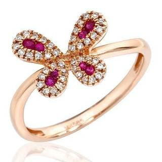 Vida Ring with Diamonds/ Rubies in 14K Rose Gold