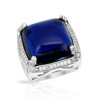 P&P Silver By Giuseppe Pisano Italy Cocktail Ring with Cubic Zirconia/ Simulated Gems 925