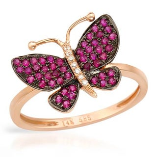 Vida Butterfly Ring with Diamonds/ Rubies in 14K Rose Gold