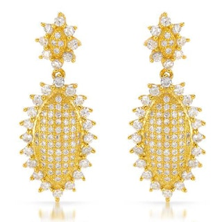 14k Gold-plated Silver CZ Sun Earrings