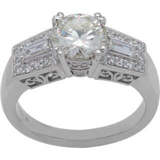 Platinum Three-stone 1.91ct TDW Diamond Engagement Ring