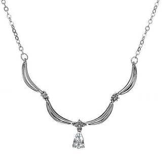 10k White Gold 1/2ct TDW Diamond and Aquamarine Necklace (I-J, I1-I2)