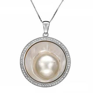 Cocktail Necklace with Diamonds/ Mobe Pearl 14K White Gold