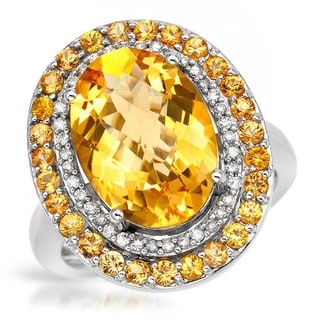 Cocktail Ring with 6.4ct TW Citrine, Diamonds and Sapphires in 14K White Gold