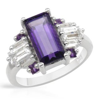 Ring with 3.94ct TW Genuine Amethysts and Topazes in 925 Sterling Silver