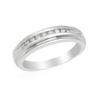 Channel Ring with Genuine Diamonds 14K White Gold