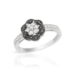 Ring with Genuine Diamonds 14K White Gold