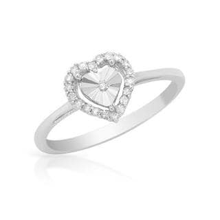 Heart Ring with Diamonds 14K White Gold
