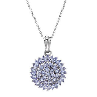 Necklace with 3.01ct TW Tanzanites Crafted in .925 Sterling Silver