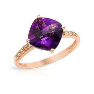 Ring with 2 3/4ct TW Amethyst and Diamonds in 14K Rose Gold