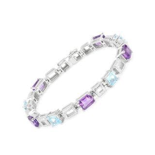 Bracelet with 13.21ct TW Amethysts and Topazes .925 Sterling Silver