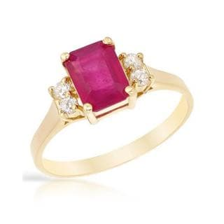 Foreli Ring with 2.65ct TW Diamonds and Composite Ruby in 14K Yellow Gold
