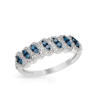 Ring with 0.50ct TW Fancy Vivid Blue enhanced Diamonds of White Gold