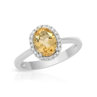 Ring with 1.28ct TW Citrine and Diamonds in 18K White Gold