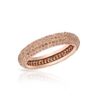 Rose Gold-plated Silver 1.47ct TDW Diamond Wedding Band