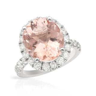 Cocktail Ring with 8.20ct TW Diamonds and Morganite in 14K White Gold