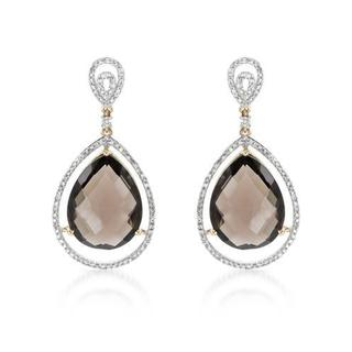 Earrings with 27.98ct TW Diamonds and Topazes in 14K Yellow Gold