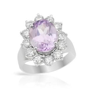 Ring with 5.48ct TW Diamonds and Kunzite of 14K White Gold