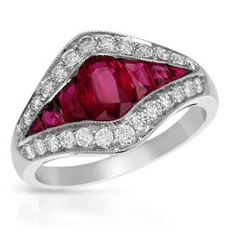 950 Platinum 3/4ct TDW Diamonds and Ruby Ring