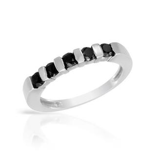 Anniversary Ring 1/3ct TDW Enhanced 5 Round Black Diamond Half-bezel Set in Sterling Silver