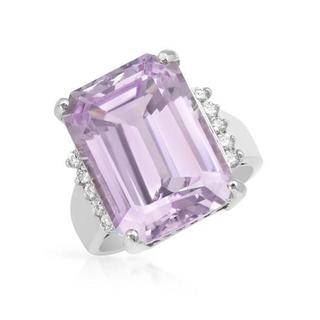 Cocktail Ring with 17.51ct TW Diamonds and Kunzite Crafted in 14K White Gold