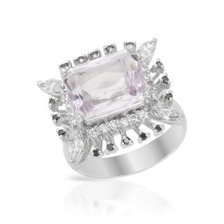 Cocktail Ring with 7.64ct TW Diamonds and Kunzite in 14K White Gold