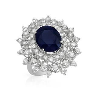 Cocktail Ring with 8.46ct TW Genuine Diamonds and Sapphire in 14K White Gold