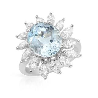 Cocktail Ring with 6.31ct TW Aquamarine and Marquise-cut Diamonds in 14K White Gold
