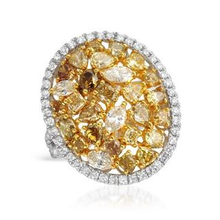 Ring with 4.52ct TW Natural Fancy Yellow Diamonds in 14K Two-tone Gold