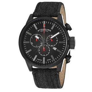 Men's 468A.3355B1 Black Denim Chronograph Watch
