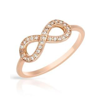 Ring with Genuine Diamonds 14K Rose Gold