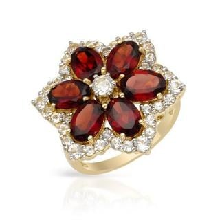 Ring with 7.96ct TW Garnets and Topazes in Yellow Gold