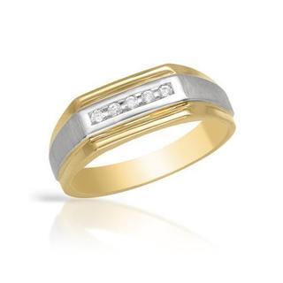 Men's 14k Two-tone Gold Diamond Channel Wedding Band
