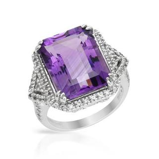 Cocktail Ring with 11.51ct TW Amethyst and Topazes in White Gold