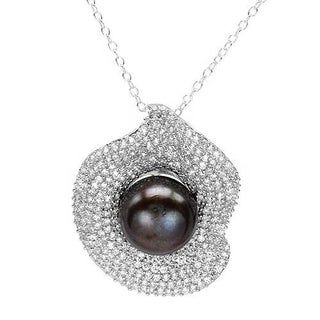 Necklace with 7.35ct TW Cubic Zirconia and 12.0mm Freshwater Pearl in 925 Sterling Silver