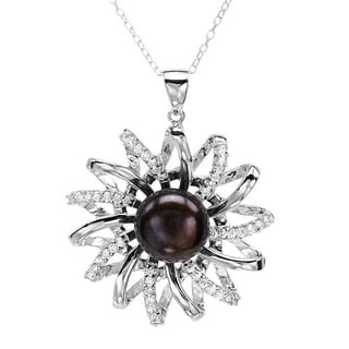 Necklace with 1 1/2ct TW Cubic Zirconia and 12mm Freshwater Pearl in .925 Sterling Silver