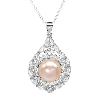 Necklace with 4.60ct TW Cubic Zirconia and 12.0mm Freshwater Pearl 925 Sterling Silver