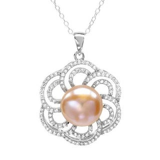 Sterling Silver 2.3ct TGW CZ Pearl Necklace