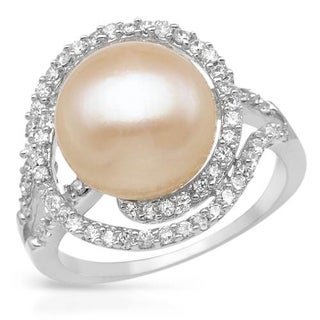 Ring with 1.8ct TW Cubic Zirconia and 12mm Freshwater Pearl in .925 Sterling Silver