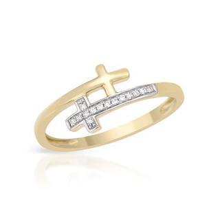 Vida Cross Ring with Genuine Diamonds Yellow Gold