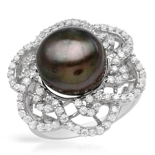 Ring with 2.4ct TW Cubic Zirconia and 12mm Freshwater Pearl in .925 Sterling Silver