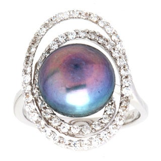 Ring with 1.9ct TW Cubic Zirconia and 12mm Freshwater Pearl in .925 Sterling Silver