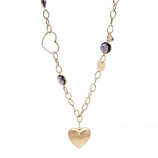 L&G By Zoccai Italy Heart Necklace with Simulated Amethysts 14K/925 Gold-plated Silver