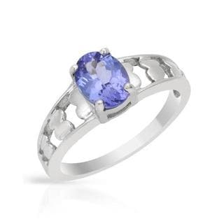 Ring with 1ct TW Tanzanite of White Gold
