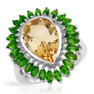 Cocktail Ring with 7.28ct TW Citrine and Diopsides .925 Sterling Silver