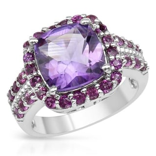 Sterling Silver 4.63ct TCW Amethyst and Rhodolite Garnet Ring