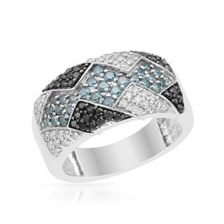 Ring with 1ct TW Fancy Intense Blue enhanced Diamonds in .925 Sterling Silver