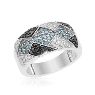 Ring with 1.00ct TW Genuine Fancy Intense Blue enhanced Diamonds in 925 Sterling Silver